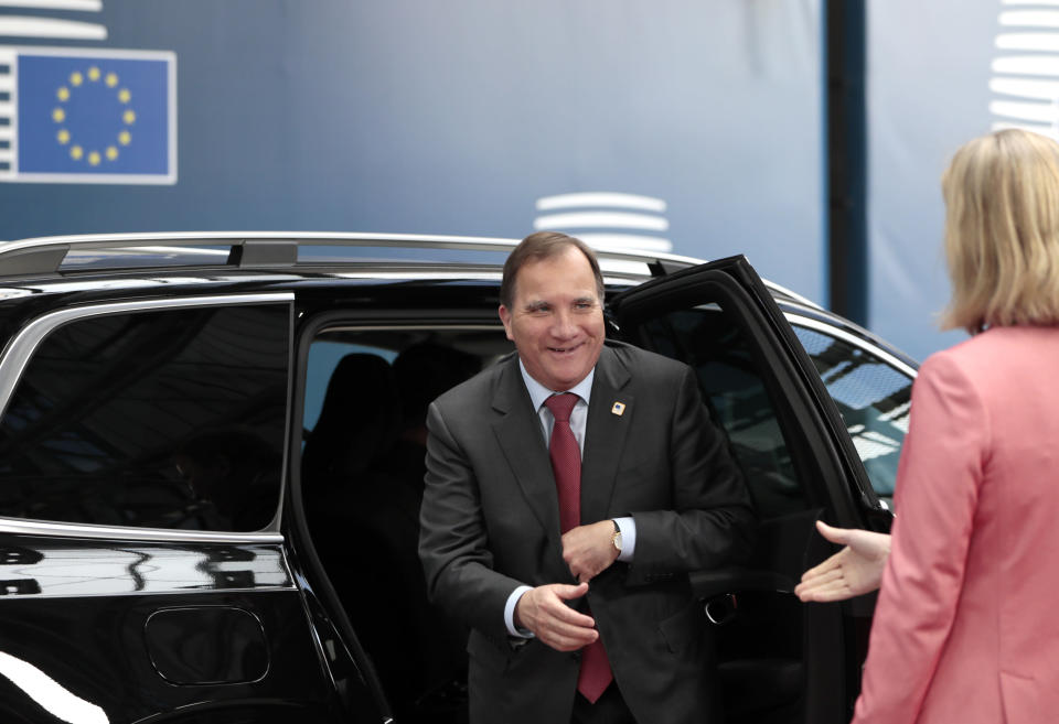 Swedish Prime Minister Stefan Lofven arrives for an EU summit at the Europa building in Brussels, Friday, June 21, 2019. EU leaders conclude a two-day summit on Friday in which they will discuss the euro-area. (AP Photo/Virginia Mayo, Pool)