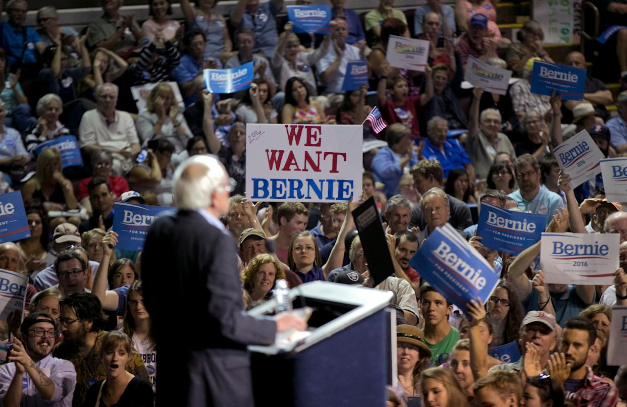 Sen. Bernie Sanders speaks at a campaign rally on July 6, 2015 in Portland, Maine.