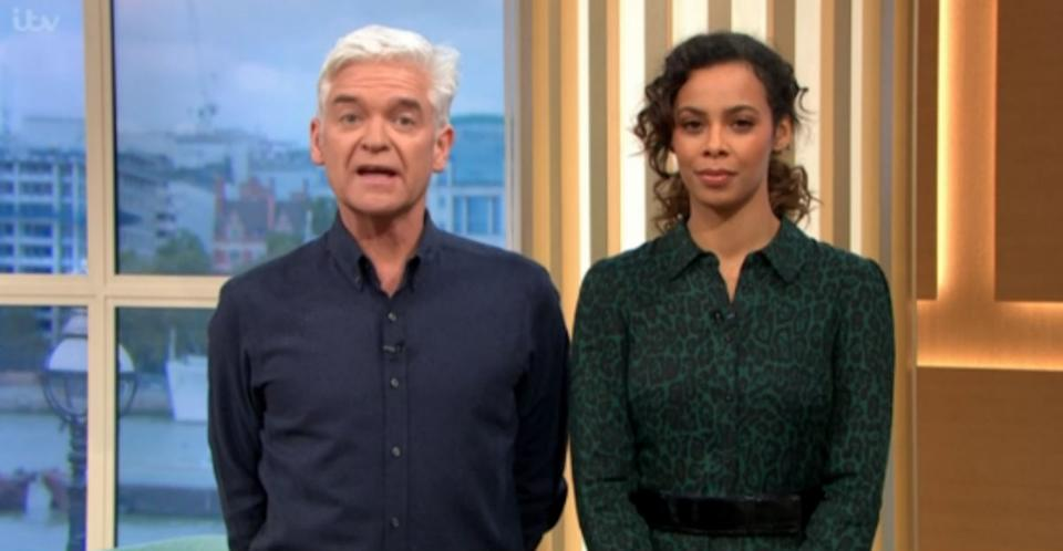 Phillip Schofield and Rochelle Humes explained that Prime Minister Theresa May would not be appearing on This Morning (ITV)
