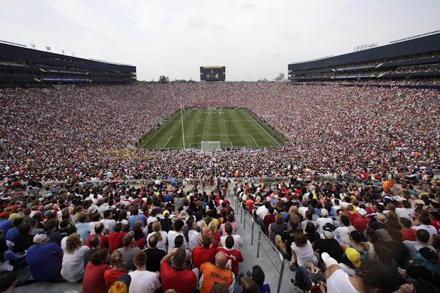 Real Madrid plays Manchester United during a Guinness International Champions Cup soccer match at Michigan Stadium in Ann Arbor, Mich., Saturday, Aug. 2, 2014. (AP Photo/Paul Sancya)