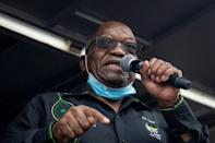 Former South African president Jacob Zuma addressed his supporters in front of his rural home