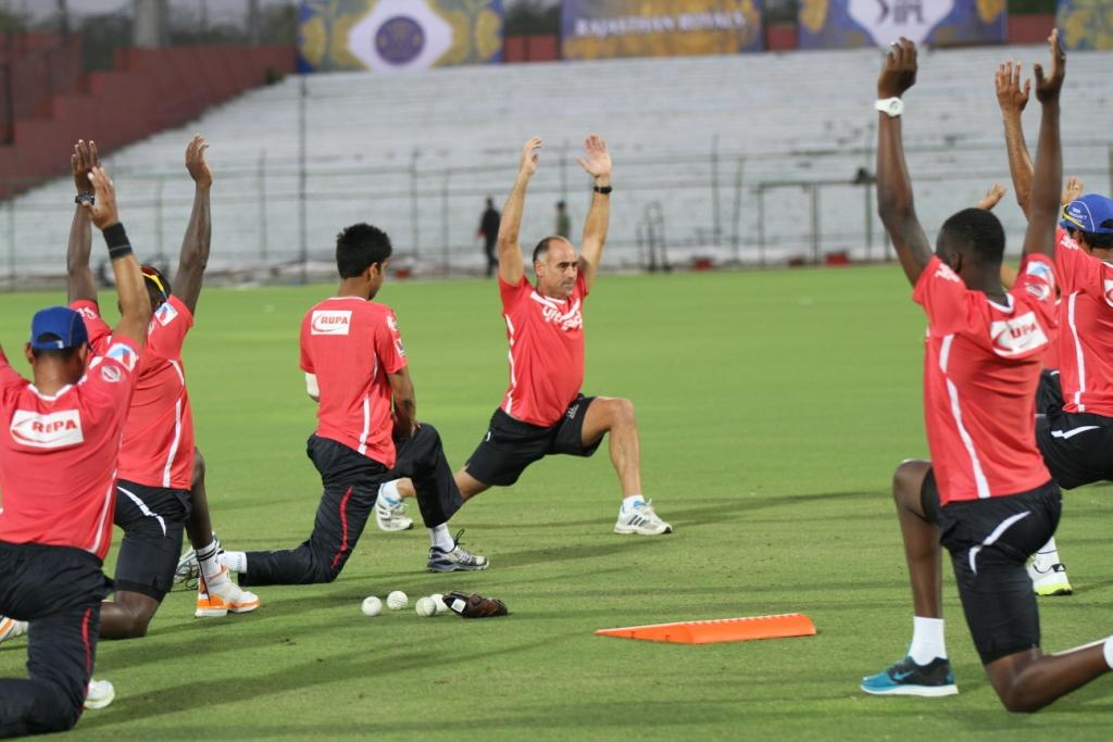 Rajasthan Royals players at a practice session at Sawai Mansingh Stadium in Jaipur on Saturday