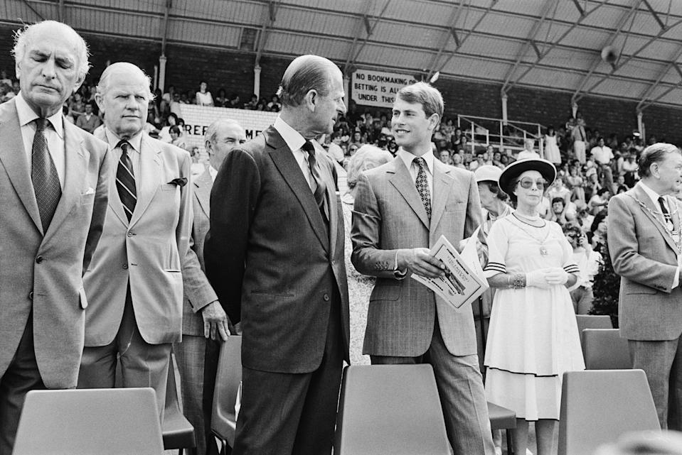 Prince Philip pictured with his youngest son, Prince Edward. at a Royal Ascot charity even in July 1984.Getty Images