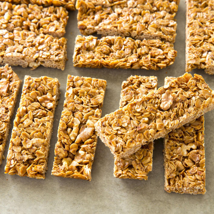 """This undated photo provided by America's Test Kitchen in March 2019 shows Crunchy Granola Bars in Brookline, Mass. This recipe appears in the cookbook """"The Perfect Cookie."""" (Joe Keller/America's Test Kitchen via AP)"""