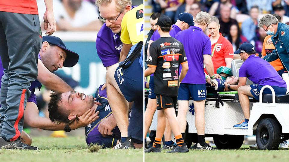 Pictured here, Storm star Ryan Papenhuyzen is attended to by medical staff after suffering concussion.