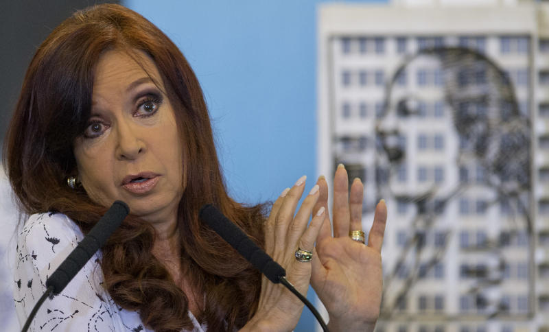 Argentina's President Cristina Fernandez talks during a ceremony at the government house in Buenos Aires, Argentina, Wednesday, Jan. 22, 2014. Fernandez spoke in public for the first time Wednesday since Dec. 10. Her 42-day silence had been feeding speculation in Argentina about her health in the wake of the head surgery she underwent in October. Some opponents have questioned who is running the country. (AP Photo/Natacha Pisarenko