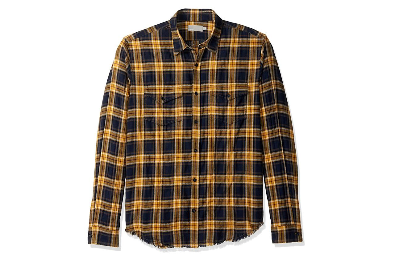 """<p>The warm weather version of your favorite flannel shirt (this one's Japanese cotton), with an of-the-moment frayed hem.</p><p><em>$225, buy now at <a rel=""""nofollow"""" href=""""https://www.amazon.com/Vince-Frayed-Western-Yellow-Medium/dp/B01MA6LNC3?mbid=synd_yahoostyle"""">amazon.com</a></em></p>"""