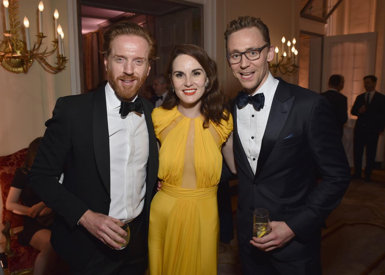 <p>Actors Damian Lewis, Michelle Dockery and Tom Hiddleston attend the Bloomberg & Vanity Fair cocktail reception at the residence of the French ambassadorfollowing the White House Correspondents' Dinner, April 30. <i>(Photo: Dimitrios Kambouris/VF16/WireImage)</i></p>