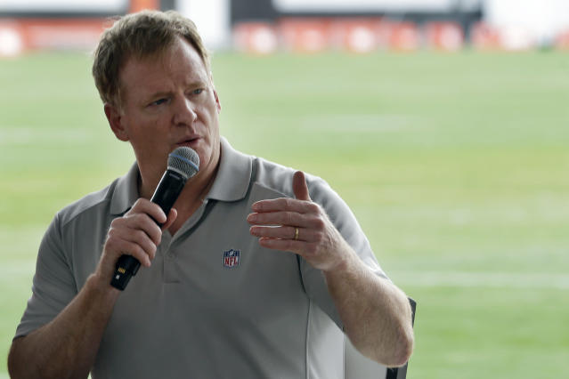 FILE - In this Aug. 17, 2017, file photo, NFL Commissioner Roger Goodell answers questions during a season ticket member fan forum before practice at the Cleveland Browns NFL football team's training camp facility in Berea, Ohio. Several NFL teams are reopening their training facilities Tuesday, May 19, 2020, while many are prohibited by government restrictions during the coronavirus pandemic. Commissioner Roger Goodell gave the 32 clubs the go-ahead for limited reopenings as long as state and local municipalities allow them. (AP Photo/Tony Dejak, File)