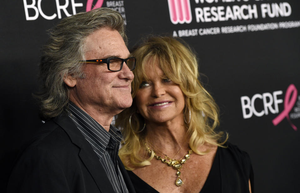 "Actors Kurt Russell, left, and Goldie Hawn pose together at the 2019 ""An Unforgettable Evening"" benefiting the Women's Cancer Research Fund, at the Beverly Wilshire Hotel, Thursday, Feb. 28, 2019, in Beverly Hills, Calif. (Photo by Chris Pizzello/Invision/AP)"