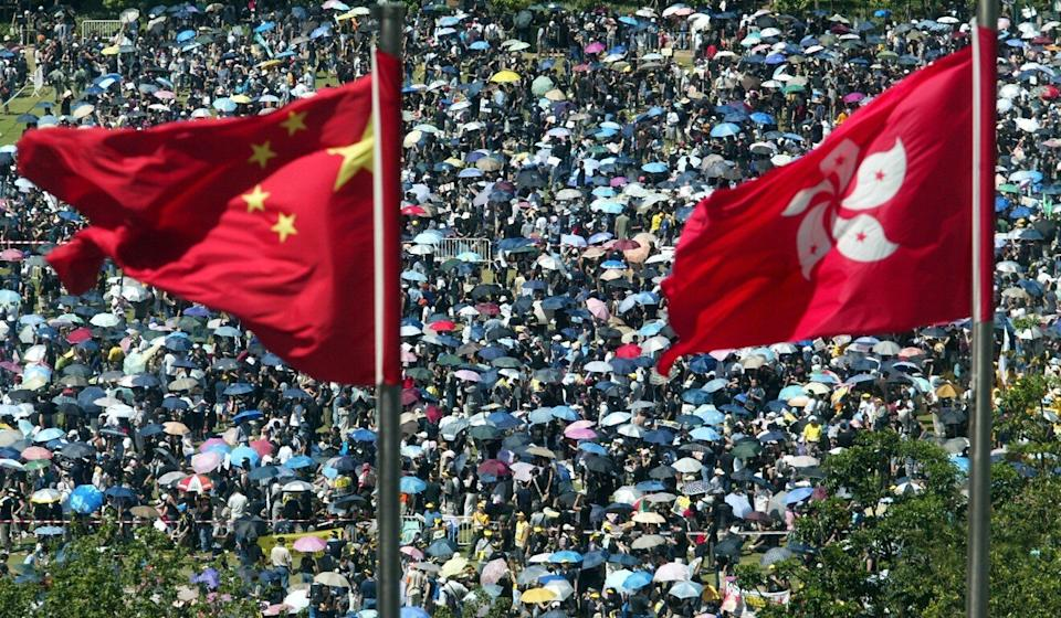 """A 36-page report on the Hong Kong protest movement released by a US government-backed body was slammed by Beijing's liaison office as """"filled with lies"""" and """"double standards"""". Photo: Martin Chan"""