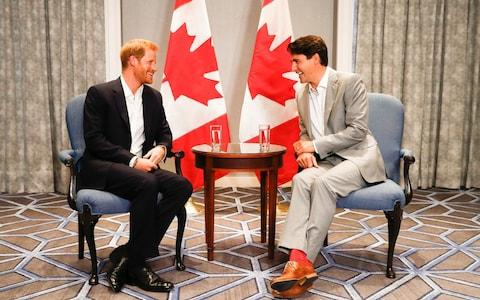 Britain's Prince Harry meets with PM of Canada Justin Trudeau ahead of the Invictus Games in Toronto - Credit: Mark Blinch/Reuters