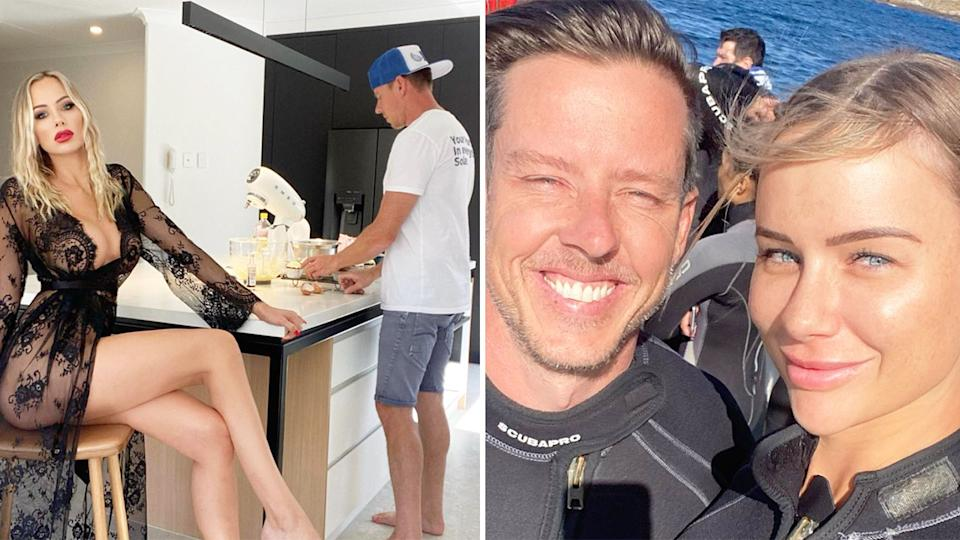 James Courtney and girlfriend Teagan Woodford are seen here in Instagram posts on the star's page.