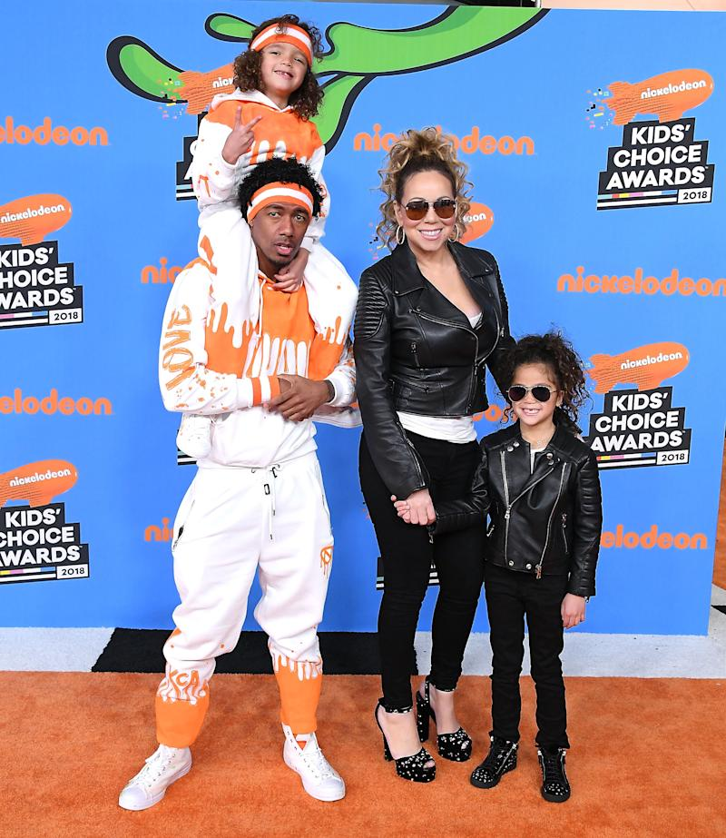 Nick Cannon (L) and Mariah Carey (C) with Moroccan Cannon and Monroe Cannon arrives at the Nickelodeon's 2018 Kids' Choice Awards at The Forum on March 24, 2018 in Inglewood, California. (Photo by Steve Granitz/WireImage)