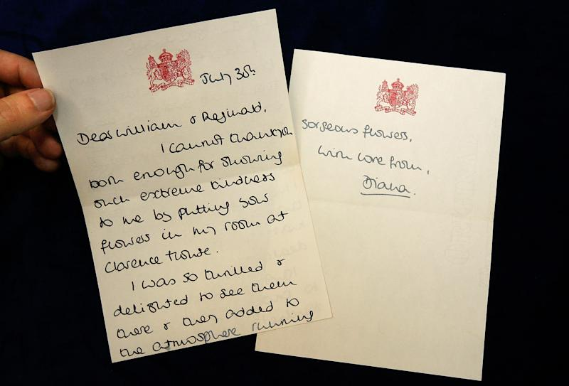 In 2008, memorabilia like this handwritten thank-you note from Princess Diana went to auction. Diana addressed this letter to William Tallon and Reginald Wilcock, who both assisted the royal family.  (Cate Gillon via Getty Images)