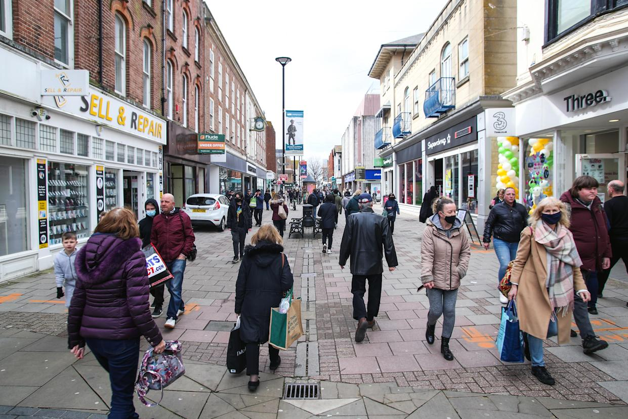Shoppers return to Worthing town centre, Sussex, as England takes another step back towards normality with the further easing of lockdown restrictions. Picture date: Monday April 12, 2021.