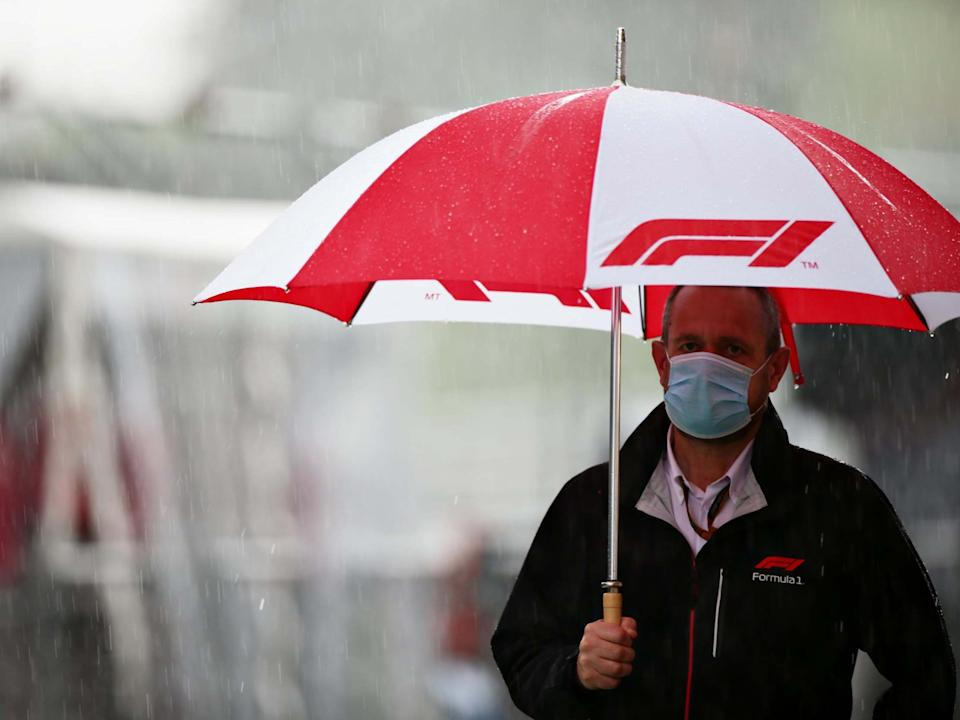Sporting Director of Formula One, Steve Nielsen walks in the pitlane during the delayed final practice: Getty