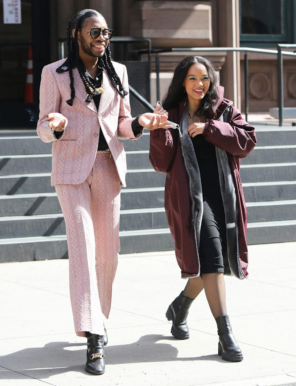 <p>Jeremy O. Harris and Whitney Peak are spotted on the set of <em>Gossip Girl</em> on Tuesday in N.Y.C.</p>