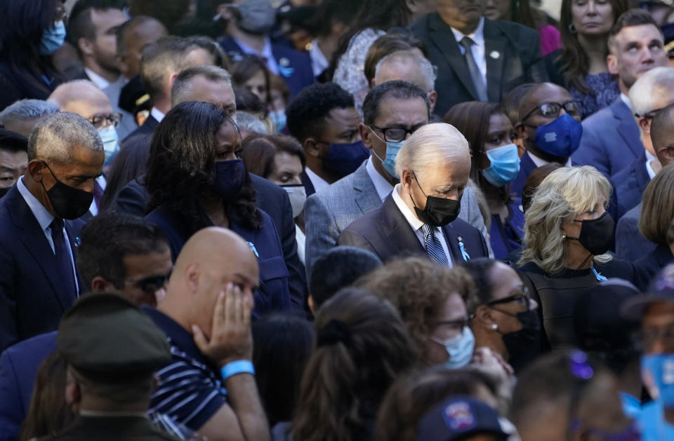 From left, former President Barack Obama, Michelle Obama, President Joe Biden and first lady Jill Biden, attend a ceremony marking the 20th anniversary of the Sept. 11, 2001, terrorist attacks at the National September 11 Memorial and Museum in New York, Saturday, Sept. 11, 2021. (AP Photo/Evan Vucci)