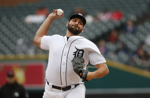Detroit Tigers pitcher Michael Fulmer throws against the St. Louis Cardinals in the first inning of a baseball game in Detroit, Sunday, Sept. 9, 2018. (AP Photo/Paul Sancya)