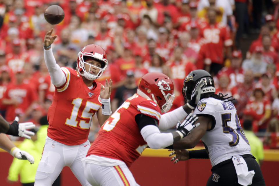 Kansas City Chiefs quarterback Patrick Mahomes (15) will face the Baltimore Ravens on Monday night. (AP Photo/Charlie Riedel)