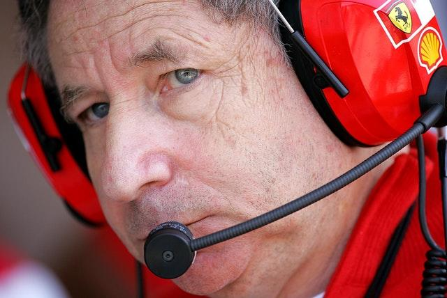 Jean Todt during a practice session with Ferrari
