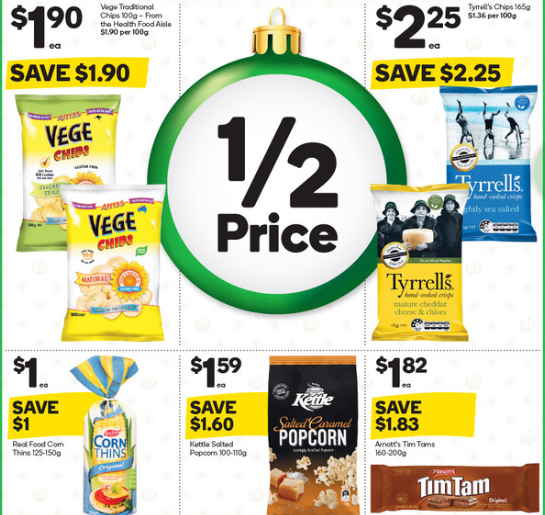 Chips, rice cake, popcorn and Tim Tams on sale for half-price at Woolworths.