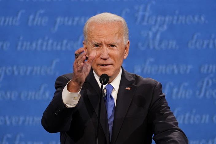 Democratic presidential candidate former Vice President Joe Biden gestures while speaking during the second and final presidential debate Thursday, Oct. 22, 2020, at Belmont University in Nashville, Tenn. (AP Photo/Julio Cortez)