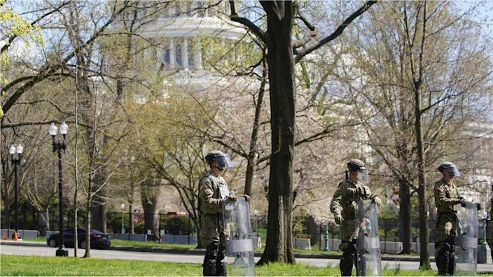 National Guard members stand guard streets surrounding the U.S. Capitol and congressional office buildings following a security threat at the U.S. Capitol in Washington, U.S., April 2, 2021.