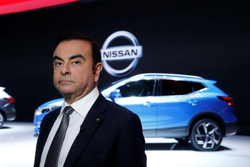 FILE PHOTO: Carlos Ghosn, chairman and CEO of the Renault-Nissan Alliance looks on during the 87th International Motor Show at Palexpo in Geneva