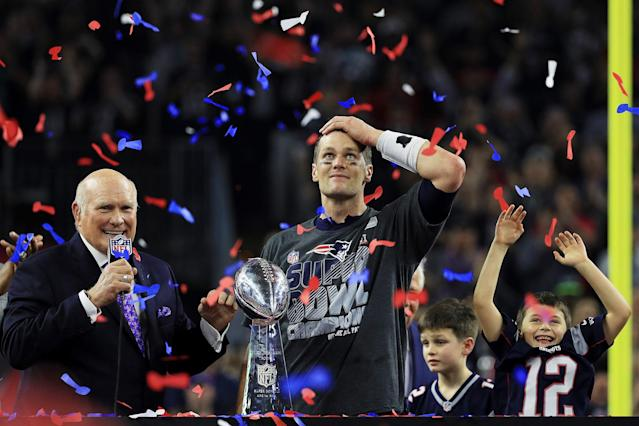 <p>FEB. 5, 2017 – Tom Brady #12 of the New England Patriots holds the Vince Lombardi Trophy after defeating the Atlanta Falcons 34-28 in overtime during Super Bowl 51 at NRG Stadium in Houston, Texas. (Photo: Mike Ehrmann/Getty Images) </p>