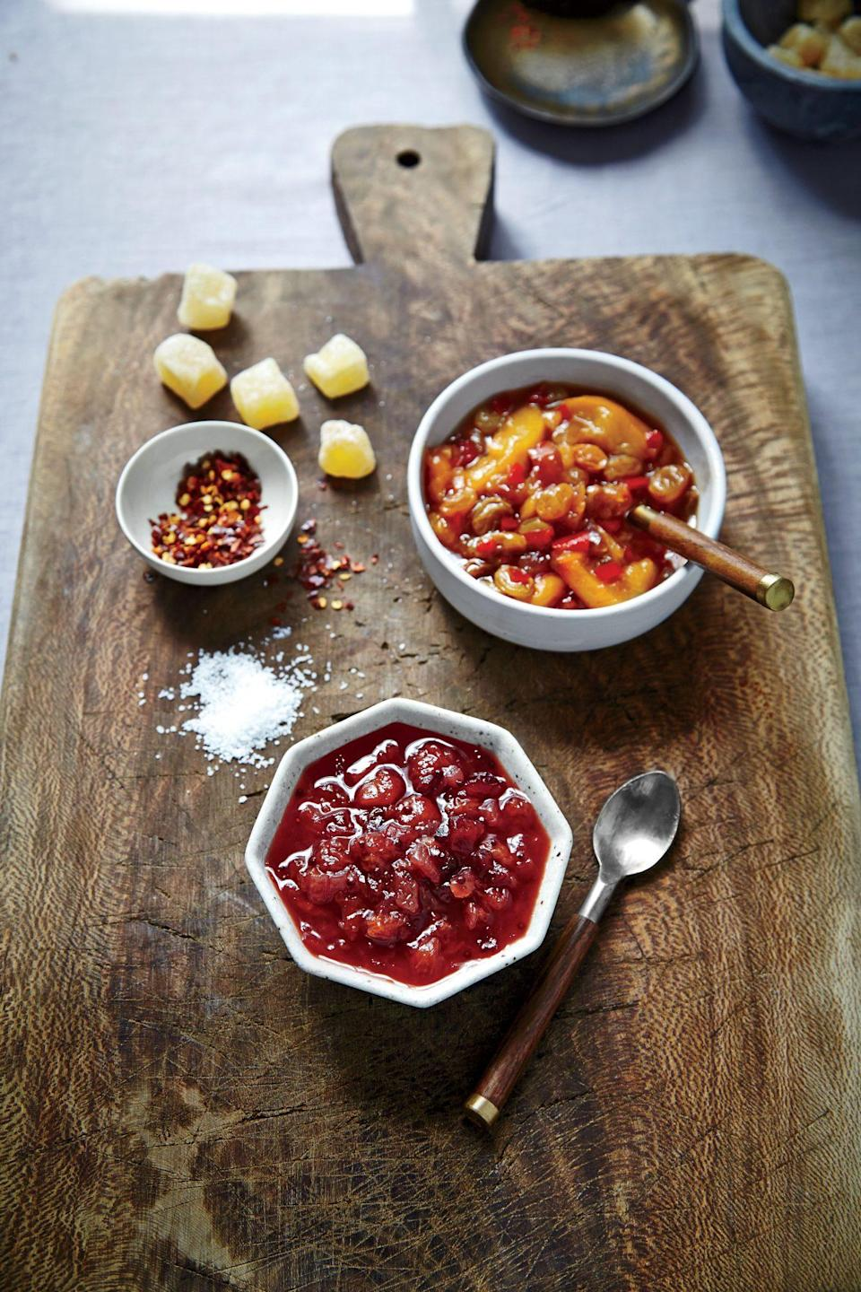 """<p><strong>Recipe: </strong><a href=""""https://www.southernliving.com/recipes/spiced-plum-chutney-recipe"""" rel=""""nofollow noopener"""" target=""""_blank"""" data-ylk=""""slk:Spiced Plum Chutney"""" class=""""link rapid-noclick-resp""""><strong>Spiced Plum Chutney</strong></a> </p> <p>It's spicy, sweet, perfectly seasoned, and you absolutely won't be able to resist anything that's slathered in this standout sauce. You can store it in the fridge for up to three weeks or pop it in the freezer for up to two months.</p>"""