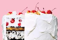 """The classic banana split translates wonderfully to an epic cake, layered with caramel banana jam, maraschino cherries suspended in vanilla ice cream, and crushed peanuts. <a href=""""https://www.epicurious.com/recipes/food/views/banana-split-ice-cream-cake-56389894?mbid=synd_yahoo_rss"""" rel=""""nofollow noopener"""" target=""""_blank"""" data-ylk=""""slk:See recipe."""" class=""""link rapid-noclick-resp"""">See recipe.</a>"""