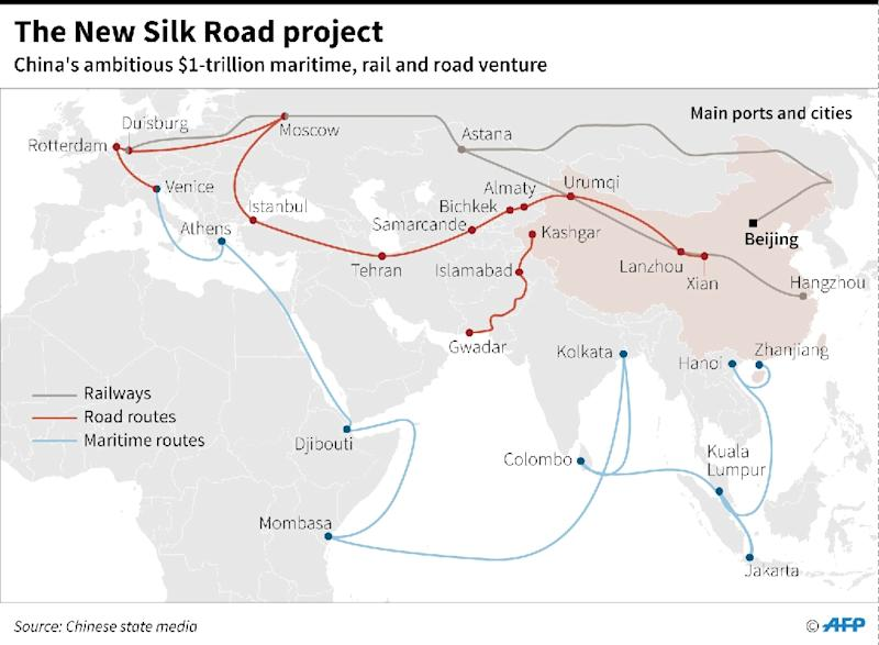 "The ""New Silk Road"" is a massive Chinese infrastructure project including road, rail and ship routes (AFP Photo/Laurence CHU)"