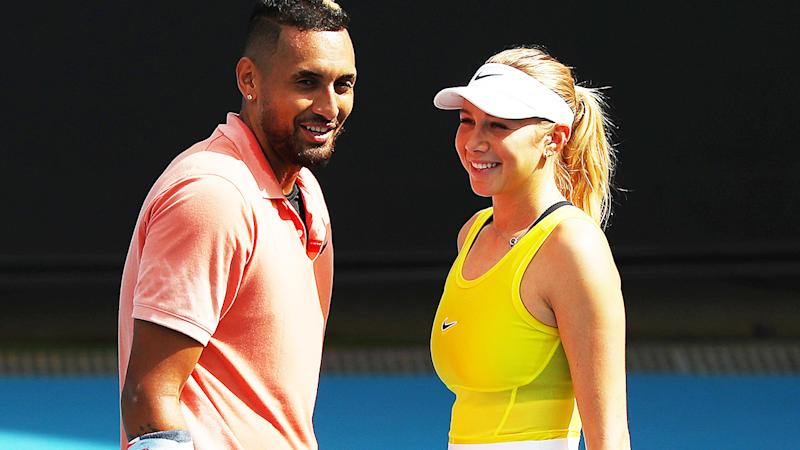 Nick Kyrgios and Amanda Anisimova, pictured here playing mixed doubles at the Australian Open.