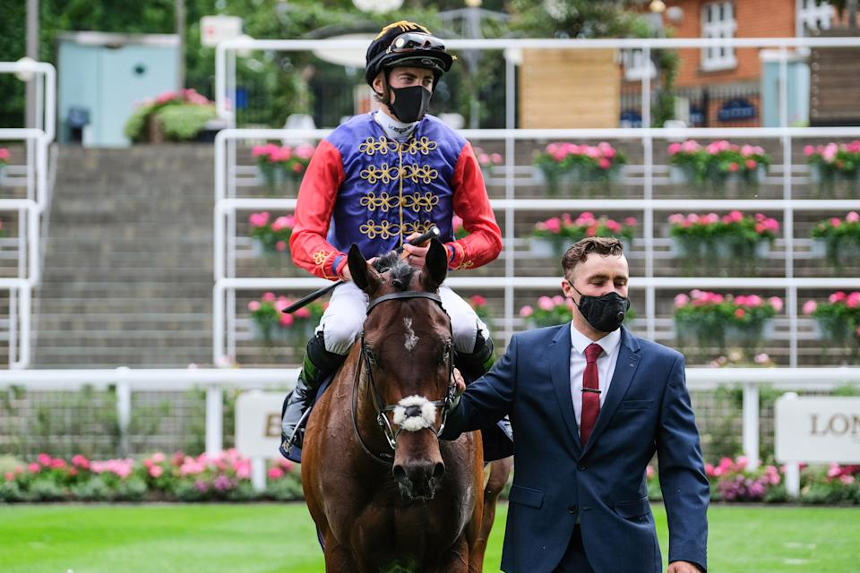 ASCOT, ENGLAND - JUNE 17: Tactical ridden by James Doyle enters the winners enclosure after victory in the Windsor Castle Stakes during Day 2 of Royal Ascot at Ascot Racecourse on June 17, 2020 in Ascot, England. (Photo by Megan Ridgwell/Pool via Getty Images)
