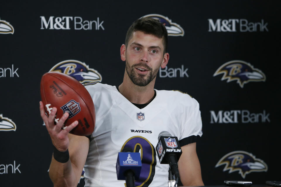 Baltimore Ravens kicker Justin Tucker speaks to the media after an NFL football game against the Detroit Lions in Detroit, Sunday, Sept. 26, 2021. Tucker kicked a 66-yard field goal to beat the Detroit Lions 19-17. (AP Photo/Duane Burleson)