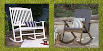 """<p>Nothing says a relaxing afternoon like time spent outside with a cold drink and a good book. Whether you have a porch, patio, or deck, comfy seating options are a must to make the most of your favorite hangout. Just ask Ree Drummond! When renovating <a href=""""https://www.thepioneerwoman.com/ree-drummond-life/a35714966/where-is-the-pioneer-woman-filmed/"""" rel=""""nofollow noopener"""" target=""""_blank"""" data-ylk=""""slk:The Lodge,"""" class=""""link rapid-noclick-resp"""">The Lodge,</a> adding a new and improved deck—with plenty of welcoming seats—was a top priority. It's the ultimate entertaining area, especially when outfitted with stylish furniture and cozy touches. These durable outdoor rocking chairs are the perfect addition to any sunny space, allowing you to sit in style <em>and</em> comfort thanks to their wide seats and curved backs. </p><p>Ahead, you'll find awesome porch and patio rocking chairs that are both weather-resistant and chic. Plus, a few of the picks even come in under $100. If you want to keep it traditional, you'll find several natural wood or white finish options to choose from. There are also some Adirondack-style rocking chairs for those who love a rustic look, while others lean to the modern side with eye-catching colors. You might even find one that could double as a great <a href=""""https://www.thepioneerwoman.com/home-lifestyle/g36222233/best-camping-chairs/"""" rel=""""nofollow noopener"""" target=""""_blank"""" data-ylk=""""slk:camping chair"""" class=""""link rapid-noclick-resp"""">camping chair</a>!</p><p>If you're totally sprucing up your backyard this summer, check out other useful items like the <a href=""""https://www.thepioneerwoman.com/home-lifestyle/g36266481/best-coolers/"""" rel=""""nofollow noopener"""" target=""""_blank"""" data-ylk=""""slk:best coolers"""" class=""""link rapid-noclick-resp"""">best coolers</a> and <a href=""""https://www.thepioneerwoman.com/products/a35968771/the-pioneer-woman-melamine-dinnerware/"""" rel=""""nofollow noopener"""" target=""""_blank"""" data-ylk=""""slk:outdoor dinnerware"""" class=""""link r"""