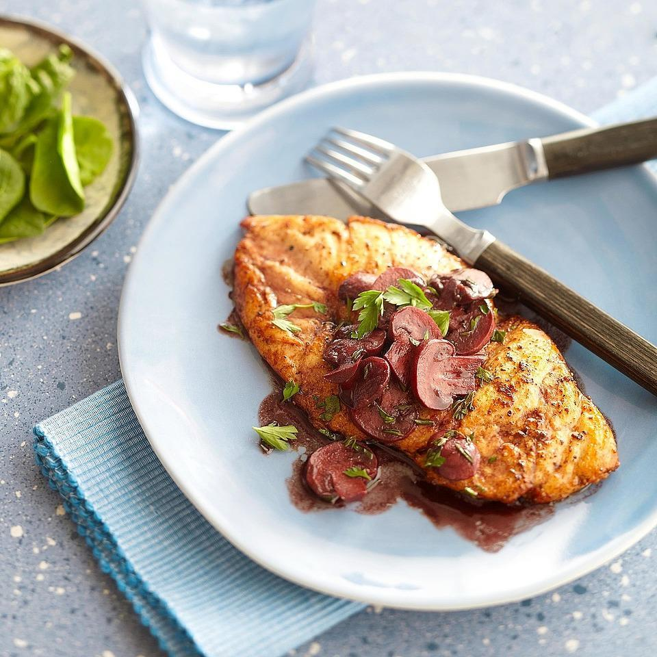 """<p>Ready in 35 minutes, this chicken dish will satisfy you any night of the week! <a href=""""http://www.eatingwell.com/recipe/265601/chicken-with-red-wine-pan-sauce/"""" rel=""""nofollow noopener"""" target=""""_blank"""" data-ylk=""""slk:View recipe"""" class=""""link rapid-noclick-resp""""> View recipe </a></p>"""