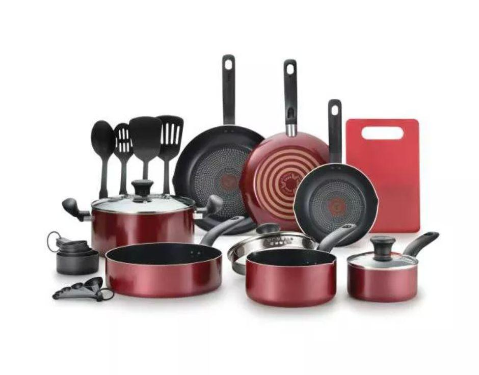 """One of the cheapest cookware sets we could find was this one from T-Fal. The pots and pans have an even heat base and secure handles. And yes, the set even comes with a cutting board.<a href=""""https://goto.target.com/c/2055067/81938/2092?u=https%3A%2F%2Fwww.target.com%2Fp%2Ft-fal-17pc-simply-cook-prep-and-cook-set-red%2F-%2FA-76400623%23lnk%3Dsametab&subid1=5&subid2=primedaytargetdeals&subid3=primeday20"""" target=""""_blank"""" rel=""""noopener noreferrer"""">Originally $80, get the set now for $56 at Target</a>."""