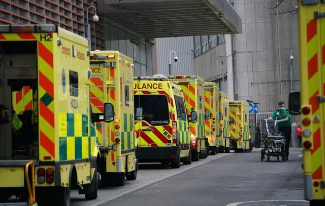 """Ambulances outside the Royal London Hospital, after Mayor of London Sadiq Khan declared a """"major incident"""" as the spread of coronavirus threatens to """"overwhelm"""" the capital's hospitals"""