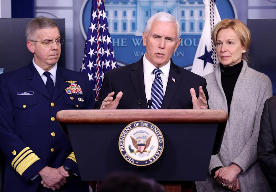 Vice President Mike Pence and members of the coronavirus task force hold a press briefing