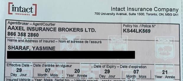 The Intact policy that Yasmine Sharaf purchased through Aaxel Insurance. Despite paying $6,000 for a year's coverage, the policy was cancelled after four months for non-payment.
