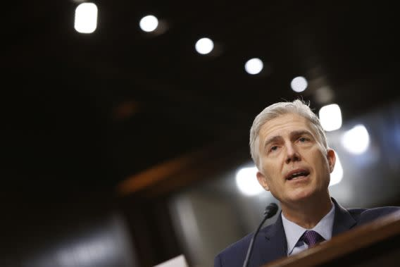 U.S. Supreme Court nominee Judge Neil Gorsuch testifies during the second day of his Senate Judiciary Committee confirmation hearing. (Reuters/Joshua_roberts)