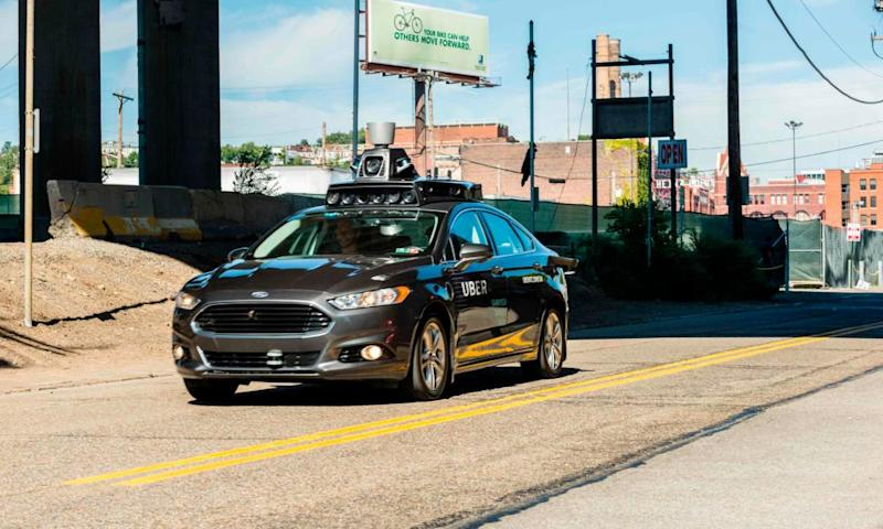 An Uber self-driving car travels in Pittsburgh, Pennsylvania.