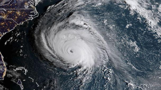 PHOTO: This NOAA/RAMMB satellite image taken at 6:00 ET on Sept. 12, 2018, shows Hurricane Florence off the US east coast in the Atlantic Ocean. (NOAA/RAMMB/AFP/Getty Images)