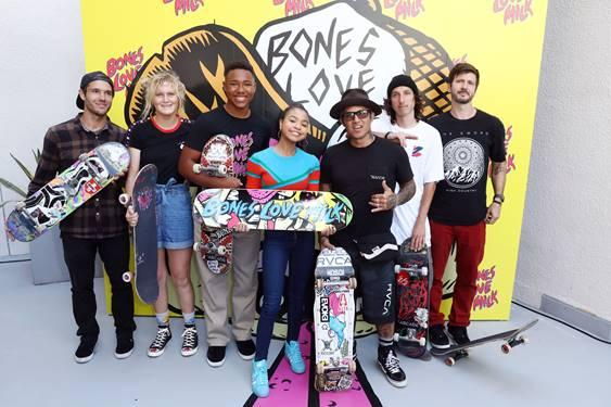 Navia Robinson partners with the California Milk Processor Board to celebrate its official @BonesLoveMilk Skate Team at the opening of Shredquarters in Huntington Beach, Calif. on Wednesday, July 24. Bones Love Milk is a new initiative dedicated to educating youth on the real benefits of milk as nature's energy drink. (Photo by Matt Sayles/Invision for CMPB/AP Images)