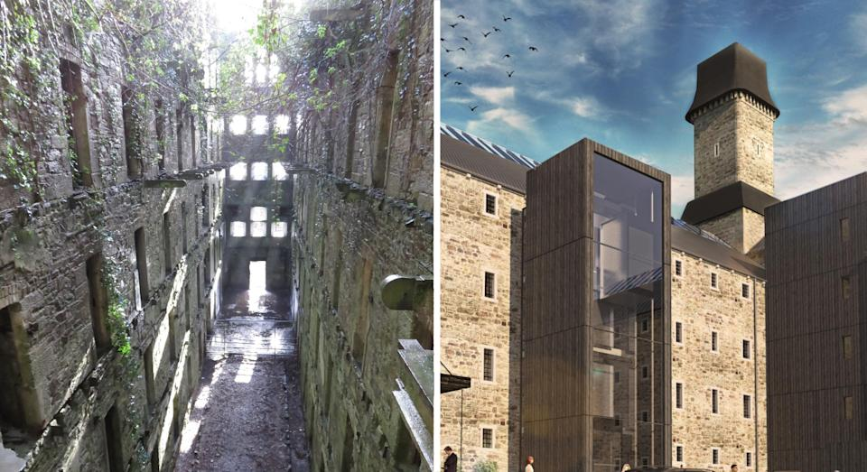 Bodmin Jail (left) had gone to ruin before it was revamped into a modern hotel (Twelve Architects)