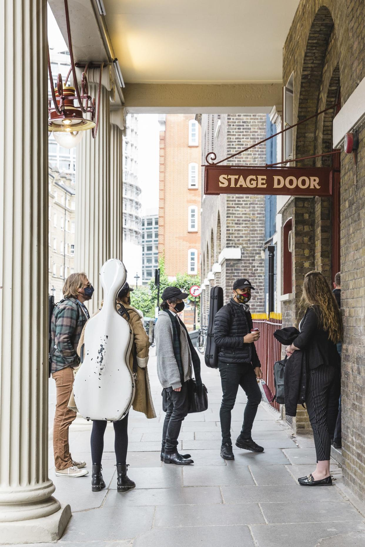 Musicians arrive at the Theatre Royal Dury Lane to record with Andrew Lloyd Webber (Alice Whitby/PA)