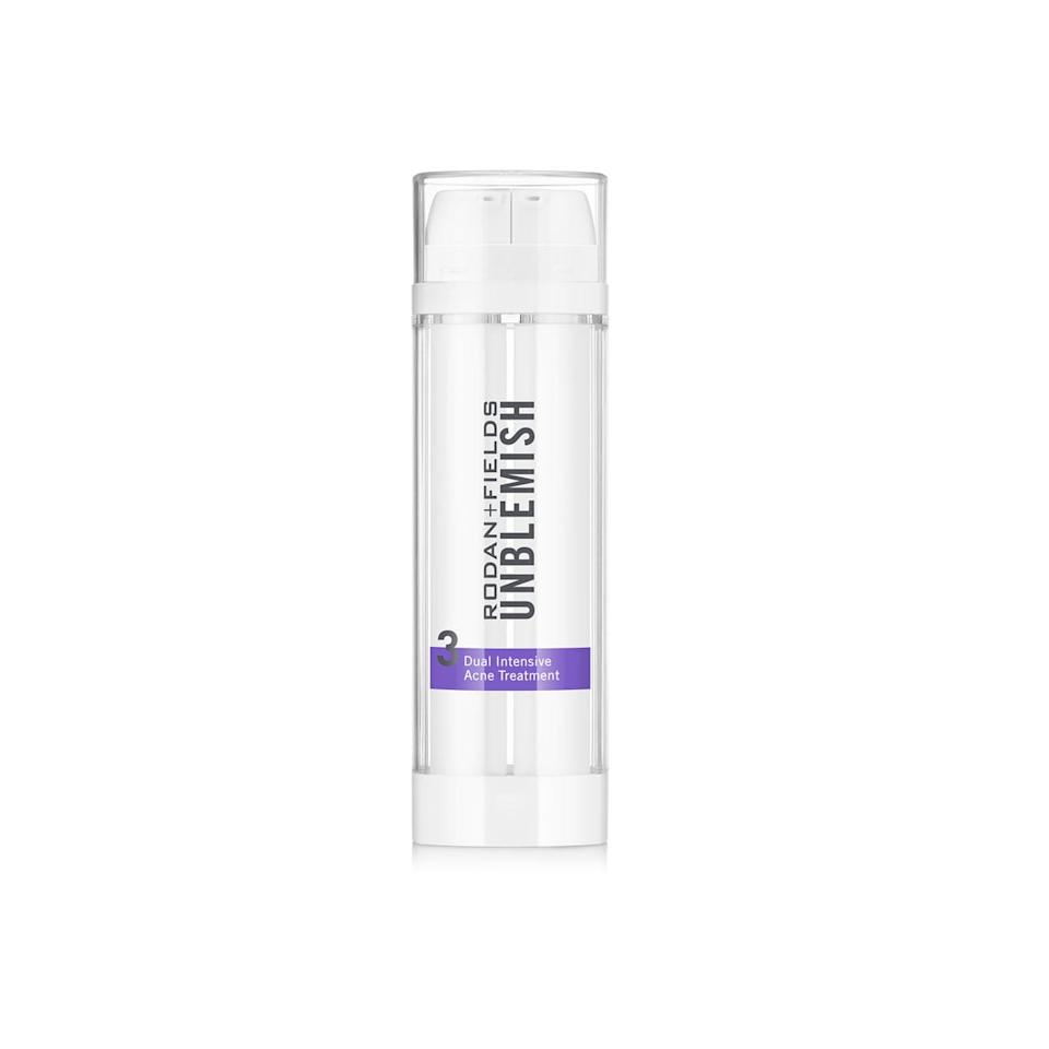 """<p>For deeper skin tones, Dr. Linkner recommends using exfoliating ingredients like alpha hydroxy acid and glycolic acid. """"They still have the prowess to control oil production, but can also boost the ability to brighten out blemishing while also assisting with the complexion,"""" she said. </p> <p>Her favorite treatment for acne-prone skin of color is the <a href=""""https://www.popsugar.com/buy/Rodan-Fields-Unblemish-Dual-Defensive-Acne-Treatment-577309?p_name=Rodan%20%2B%20Fields%20Unblemish%20Dual%20Defensive%20Acne%20Treatment&retailer=rodanandfields.com&pid=577309&price=104&evar1=bella%3Aus&evar9=47506314&evar98=https%3A%2F%2Fwww.popsugar.com%2Fphoto-gallery%2F47506314%2Fimage%2F47517022%2FAcne-Treatments-That-Work-For-Darker-Skin&list1=acne%2Cskin%20care%2Czit%20happens&prop13=api&pdata=1"""" rel=""""nofollow"""" data-shoppable-link=""""1"""" target=""""_blank"""" class=""""ga-track"""" data-ga-category=""""Related"""" data-ga-label=""""https://www.rodanandfields.com/shop/unblemish-dual-intensive-acne-treatment/p/UNTT030"""" data-ga-action=""""In-Line Links"""">Rodan + Fields Unblemish Dual Defensive Acne Treatment</a> ($104) """"because it has both benzoyl peroxide to help alleviate active pimples and glycolic acid to brighten [the skin].""""</p> <p>We also love the <a href=""""https://www.popsugar.com/buy/Paula-Choice-Skin-Perfecting-8-AHA-Gel-Exfoliant-578510?p_name=Paula%27s%20Choice%20Skin-Perfecting%208%25%20AHA%20Gel%20Exfoliant&retailer=paulaschoice.com&pid=578510&price=30&evar1=bella%3Aus&evar9=47506314&evar98=https%3A%2F%2Fwww.popsugar.com%2Fphoto-gallery%2F47506314%2Fimage%2F47517022%2FAcne-Treatments-That-Work-For-Darker-Skin&list1=acne%2Cskin%20care%2Czit%20happens&prop13=api&pdata=1"""" rel=""""nofollow"""" data-shoppable-link=""""1"""" target=""""_blank"""" class=""""ga-track"""" data-ga-category=""""Related"""" data-ga-label=""""https://www.paulaschoice.com/skin-perfecting-8pct-aha-gel-exfoliant/190.html"""" data-ga-action=""""In-Line Links"""">Paula's Choice Skin-Perfecting 8% AHA Gel Exfoliant</a> ($30), <a href=""""https://www.popsugar.com/buy/Ma"""